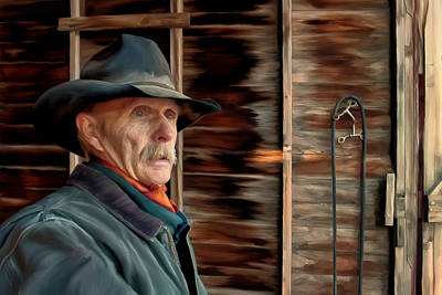 Art Print featuring the painting Montana Cowboy by Michael Pickett