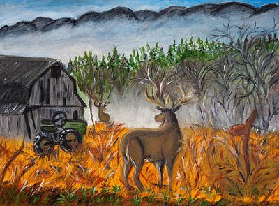 Painting - Montana Deer On The Farm by Lucille  Valentino