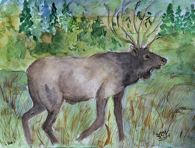 Painting - Montana Elk by Lucille  Valentino
