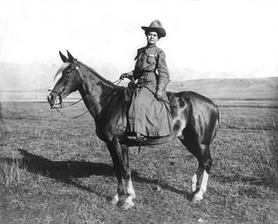 Cowboy Hat Photograph - Montana Girl On Horseback by Adams