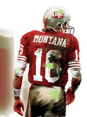 Note Card Painting - Montana II  Joe Montana by Iconic Images Art Gallery David Pucciarelli