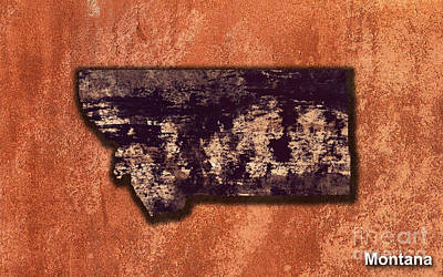 Montana State Map Mixed Media - Montana Map by Marvin Blaine
