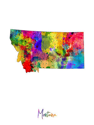 Urban Watercolor Digital Art - Montana Map by Michael Tompsett