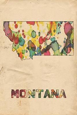 Watercolor Map Painting - Montana Map Vintage Watercolor by Florian Rodarte