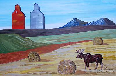 Bales Painting - Montana Moose by Mike Nahorniak