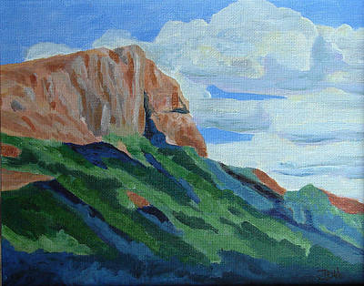 Cloudy Day Painting - Montana Mountain by Joseph Hawkins