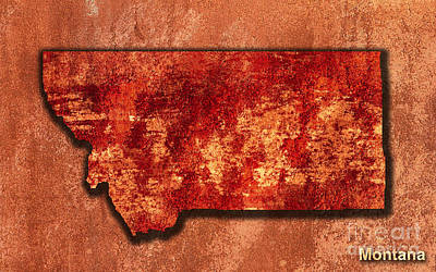 Montana State Map Mixed Media - Montana Original Art by Marvin Blaine