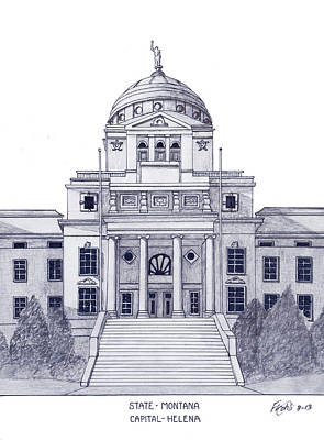 Drawing - Montana State Capitol by Frederic Kohli