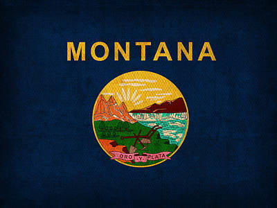 Montana State Flag Art On Worn Canvas Art Print