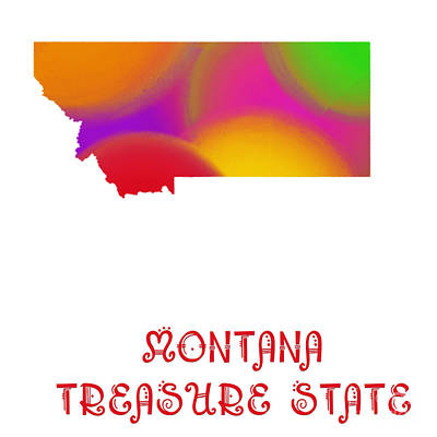 Andee Design Red Digital Art - Montana State Map Collection 2 by Andee Design