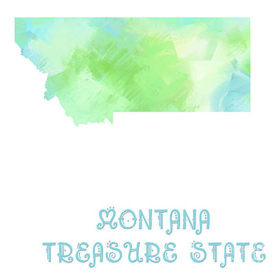Montana Digital Art - Montana - Treasure State - Map - State Phrase - Geology by Andee Design