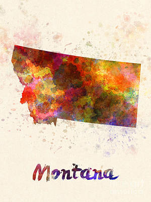Cartography Painting - Montana Us State In Watercolor by Pablo Romero