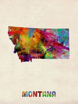 Montana Watercolor Map Art Print