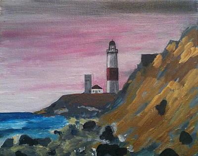 Eastern Point Painting - Montauk  Lighthouse Rocks by Joe Ballone
