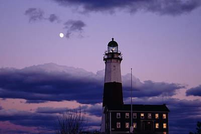 Photograph - Montauk Lighthouse With Moon by Bradford Martin