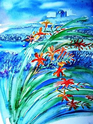 Montbretia On Inisheer  Art Print by Trudi Doyle