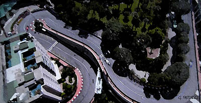 Painting - Monte Carlo Grand Prix Aerial View Of Hairpin Turn by George Pedro