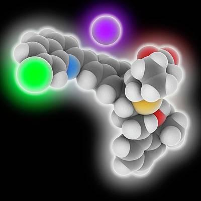 Montelukast Sodium Drug Molecule Art Print by Laguna Design