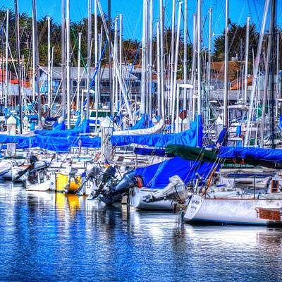 Jerry Sodorff Royalty-Free and Rights-Managed Images - Monterey Bay Yacht Club Sterns 19734 by Jerry Sodorff