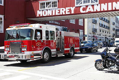 Photograph - Monterey Fire Engine On Monterey Cannery Row California 5d25059 by Wingsdomain Art and Photography