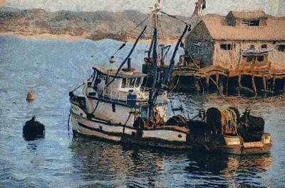 Trawler Digital Art - Monterey Fish Company Abstract by Barbara Snyder