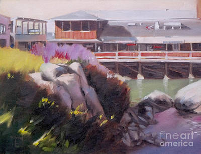 Monterey Wharf Painting - Monterey Fisherman's Wharf by Mary Hubley