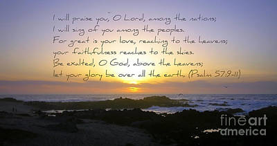 Watercolor Typographic Countries - Monterey Sunset with Psalm 57 by Carol Groenen