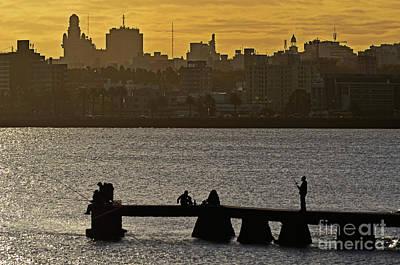 Photograph - Montevideo - Fishing At Dusk - Playa Ramirez by Carlos Alkmin
