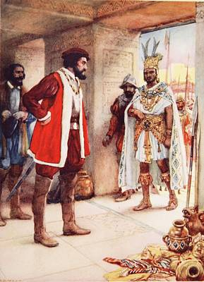 Latin Drawing - Montezuma A Hostage In Cortes Hands by Arthur A. Dixon