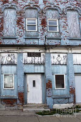 Montezuma Iowa - Blue Brick Building Art Print by Gregory Dyer