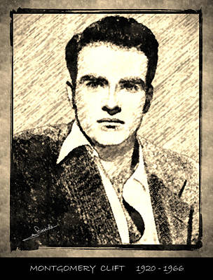 Portraits Drawing - Montgomery Clift by George Rossidis
