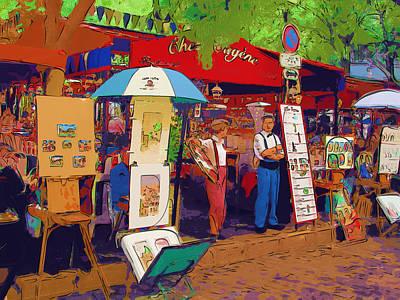 Montmartre Cafe  Paris Art Print by Andrey Serdotetskiy