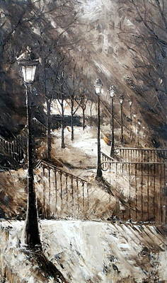 Sacre Coeur Painting - Montmartre Stairs by Milena Hristova