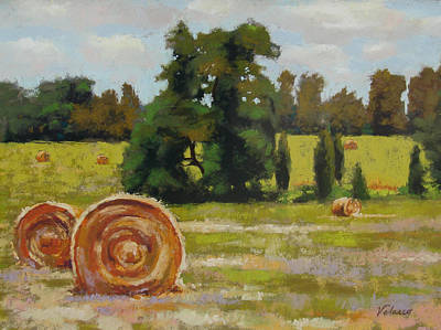 Haybale Painting - Montpelier by Diane Velasco
