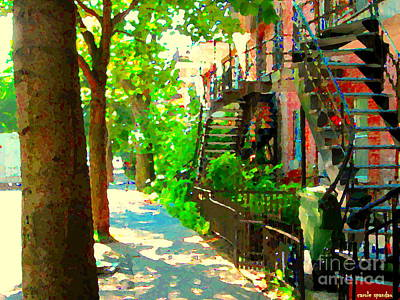 Montreal Art Colorful Winding Staircase Scenes Tree Lined Streets Of Verdun Art By Carole Spandau Art Print