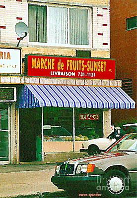Montreal Storefronts Painting - Montreal Art Documenting Vintage Van Horne Marche De Fruits Sunset Fruitstore Painting C Spandau by Carole Spandau