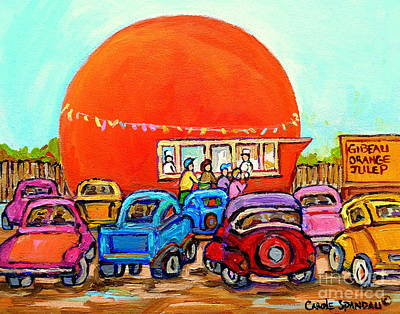 Montreal Art Orange Julep Paintings Montreal Summer City Scenes Carole Spandau Art Print