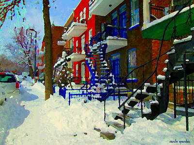 Montreal Art Streets Of Verdun Winter Scenes Winding Staircases Snowscenes Carole Spandau Art Print