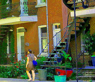 Montreal Memories. Painting - Montreal Art Summer Stroll By Blue Winding Staircase Verdun Homes Balcony Scene Carole Spandau by Carole Spandau