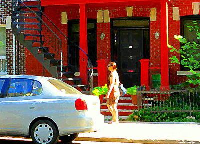 Montreal Art Summer Stroll On A Sunny Morning Colorful Street Verdun City Scene Carole Spandau Art Print by Carole Spandau