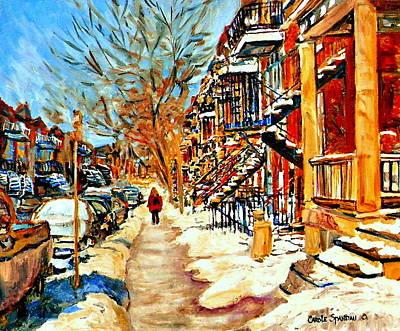 Painting - Montreal Art Winterwalk In Montreal Street Scene Painting by Carole Spandau