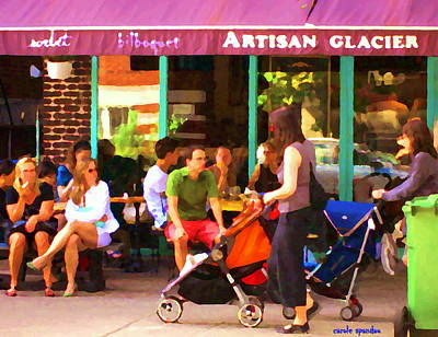 Montreal Art Work Bilboquet Cafe Scene Moms And Baby Carriages  In  Outremont By Carole Spandau Art Print by Carole Spandau