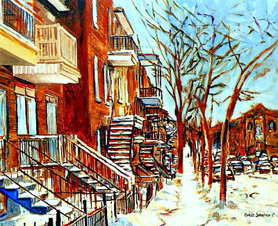 Montreal Winter Scenes Painting - Montreal Artist Street Scene Paintings Plateau Montreal Winter Art by Carole Spandau