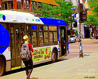 Painting - Montreal Bus Scenes Catching The 97 Bus Pontiac Corner Mont Royal Urban Montreal Art Carole Spandau by Carole Spandau