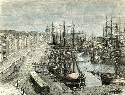 Old Montreal Drawing - Montreal Canada 1873 by Canadian School