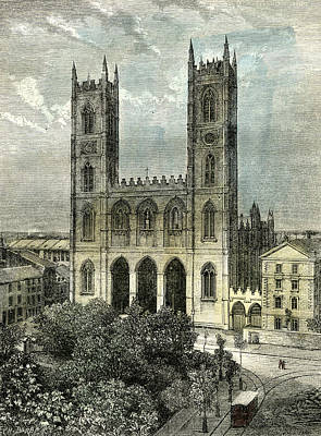 Old Montreal Drawing - Montreal Canada 19th Century by Canadian School