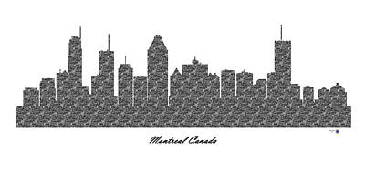 Montreal Buildings Digital Art - Montreal Canada 3d Bw Stone Wall Skyline by Gregory Murray