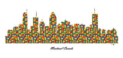 Montreal Buildings Digital Art - Montreal Canada Building Blocks Skyline by Gregory Murray