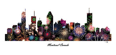 Montreal Buildings Digital Art - Montreal Canada Fireworks Skyline by Gregory Murray