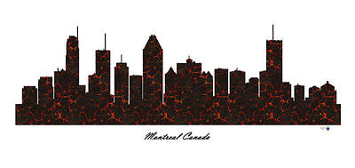 Montreal Buildings Digital Art - Montreal Canada Molten Lava Skyline by Gregory Murray